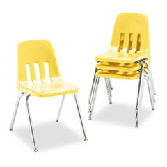 9000 Series Classroom Chair, 18&quot; Seat Height, Squash/Chrome, 4/Carton