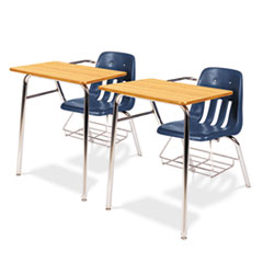 9400 Series Chair Desk, 21w x 33-1/2d x 30h, Medium Oak/Navy, 2/Carton
