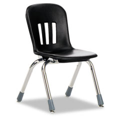 "Metaphor Series Classroom Chair, 12-1/2"" Seat Height, Black/Chrome, 5/Carton"