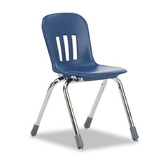 "Metaphor Series Classroom Chair, 14-1/2"" Seat Height, Navy Blue/Chrome, 5/Carton"