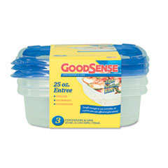 GoodSense Entr�e Container, 25 oz, Clear, 3/Pack