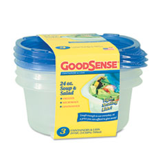 GoodSense Soup and Salad Container, 24 oz, Clear, 3/Pack