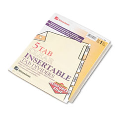 Wilson Jones Gold Pro Insertable Tab Index, Clear 5-Tab, Letter, Buff Sheets