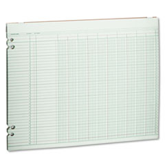 Wilson Jones Accounting Sheets, 10 Columns, 11 x 14, 100 Loose Sheets/Pack, Green