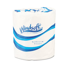 Windsoft Single Roll Bath One-Ply Bathroom Tissue, 1000 Sheets/Roll, 96 Rolls/Carton