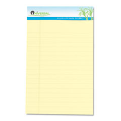 Universal Sugarcane Sugarcane Based Writing Pads, Wide Rule, 8 x 5, Canary, 2 50-Sheet Pads/Pack