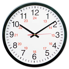 Universal 24-Hour Round Wall Clock, 12 1/2