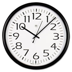 Universal Round Wall Clock, 13-1/2in, Black