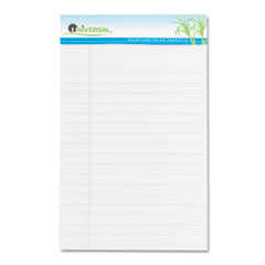 Universal Sugarcane Sugarcane Based Writing Pads, Wide Rule, 8 x 5, White, 2 50-Sheet Pads/Pack