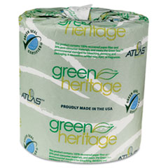 Atlas Paper Mills Green Heritage Bathroom Tissue, 2-Ply, 500 Sheets, White, 96 per Carton