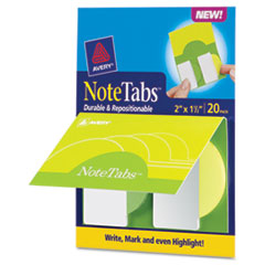 Avery NoteTabs-Notes, Tabs and Flags in One, Citrus Yellow, Green, Two Inch, 20/PK