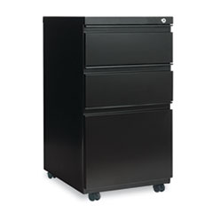 Three-Drawer Metal Pedestal File With Full-Length Pull, 14-7/8w x 19-1/8d, Black