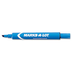 Marks-A-Lot Permanent Marker, Large Chisel Tip, Blue, Dozen