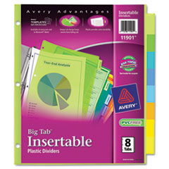 Avery WorkSaver Big Tab Plastic Dividers, 8-Tab, Letter, Multicolor