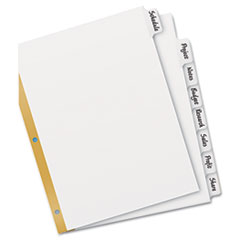 Avery Big Tab Write-On Dividers w/Erasable Laminated Tabs, White, Set of 8