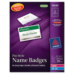 Avery Badge Holders w/Laser/Inkjet Inserts, Top Loading, 2 1/4 x 3 1/2, White, 100/Box