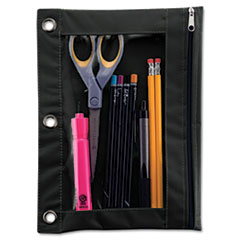 Advantus Binder Pencil Pouch, 10 x 7 3/8, Black/Clear