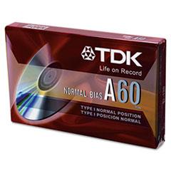 TDK Standard Grade Audio & Dictation Cassette, Normal Bias, 60 Minutes (30 x 2)