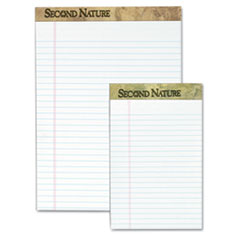 TOPS Second Nature Recycled Letter Pads, Lgl/Red Margin Rule, WE, 50-Sheet, 12/Pack