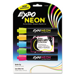 EXPO Neon Dry Erase Marker, Bullet Tip, Assorted, 5 per Pack