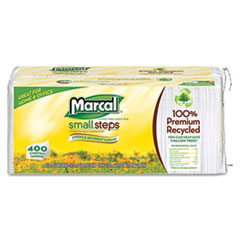 Marcal Small Steps 100% Premium Recycled Luncheon Napkins, 12-1/2 x 11-2/5, White, 2400/Carton