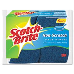 Scotch-Brite Non-Scratch Multi-Purpose Scrub Sponge, 4 2/5 x 2 3/5, Blue, 6/Pack