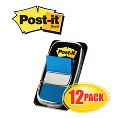 Post-it Flags Marking Flags in Dispensers, Blue, 12 50-Flag Dispensers/Pack