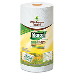 Marcal Small Steps 100% Recycled Roll Towels, 11 x 5 3/4, 140 Sheets, 12 Rolls/Carton