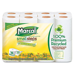 Marcal Small Steps 100% Recycled 2-Ply Toilet Tissue, 96 Rolls/Carton