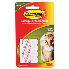 Command Poster Strips, White, 12 Strips/Pack
