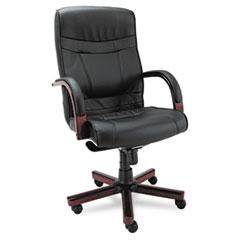ALE MA41LS10M Alera Madaris Series High-Back Knee Tilt Leather Chair with Wood Trim ALEMA41LS10M