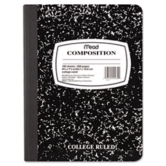 Mead Black Marble Composition Book, Wide Rule, 9-3/4 x 7-1/2, 100 Sheets
