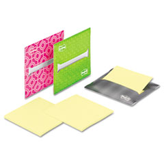 Post-it Laptop Notes Super Sticky Laptop Note Dispenser, 3 x 3, Gray, Pink, Green, 3 per Pack