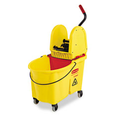 Rubbermaid Commercial WaveBrake 44 Quart Bucket/Downward Pressure Wringer Combination, Yellow