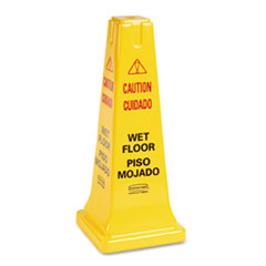 Rubbermaid Commercial Four-Sided Caution, Wet Floor Safety Cone, 10-1/2w x 10-1/2d x 25-5/8h, Yellow