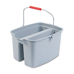 Rubbermaid Commercial 19 Quart Double Utility Pail, 18 x 14 1/2 x 10, Gray Plastic