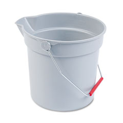 Rubbermaid Commercial 10 Quart Plastic Utility Pail, 10 1/2 Diameter x 10 1/4h, Gray Plastic