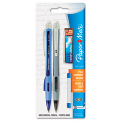 Paper Mate Silhouette Mechanical Pencil, Black, Lead Refill, 6 Erasers, 2 per Set