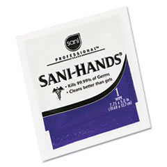 Sani-Hands II Sanitizing Wipes, 7 1/2 x 5 1/2, 100 Packets/Box,