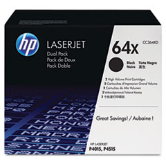 HP 64X, (CC364XD) 2-pack High Yield Black Original LaserJet Toner Cartridges