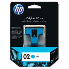C8771WN (HP 02) Ink Cartridge, 400 Page-Yield, Cyan