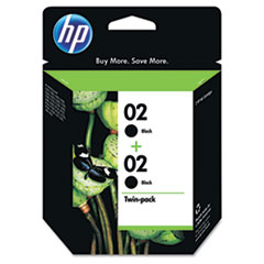 C9500FN (HP 02) Ink Cartridge, 660 Page-Yield, 2/Pack, Black