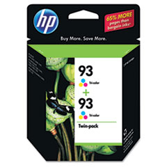 CC581FN (HP 93) Ink Cartridge, 220 Page-Yield, Tri-Color, 2/Pk