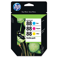CC606FN (HP 88) Ink Cartridge, 860 Page-Yield, Cyan, Magenta, Yellow, 3/Pack