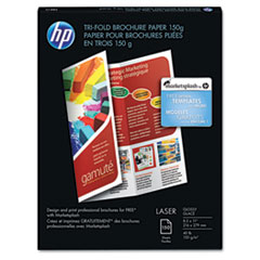 HP Tri-Fold Laser Brochure Paper, 97 Brightness, 40lb, 8-1/2 x 11, White, 150 /Pack