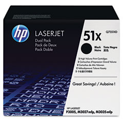 Q7551XD (HP 51X) Toner Cartridge, 13000 Page-Yield, 2/Box, Black
