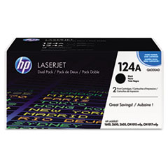 HP 124A, (Q6000AD) 2-pack Black Original LaserJet Toner Cartridges