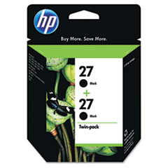 C9322FN (HP 27) Ink Cartridge, 280 Page-Yield, 2/Pack, Black