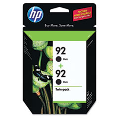 C9512FN (HP 92) Ink Cartridge, 210 Page-Yield, 2/Pack, Black