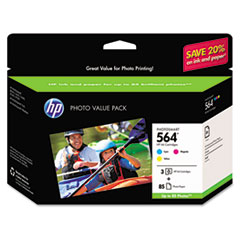 HP 564, (CG925AN) 3-pack Cyan/Magenta/Yellow Original Ink w/Photo Paper